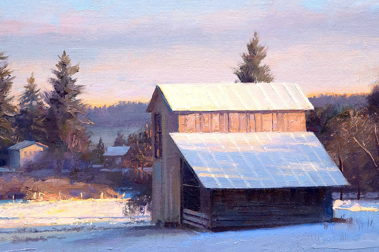 """""""Sheep Barn, Winter Morning,"""" oil painting on linen by James Tennison.                                 Part of December show at Rob Schouten Gallery, Langley."""