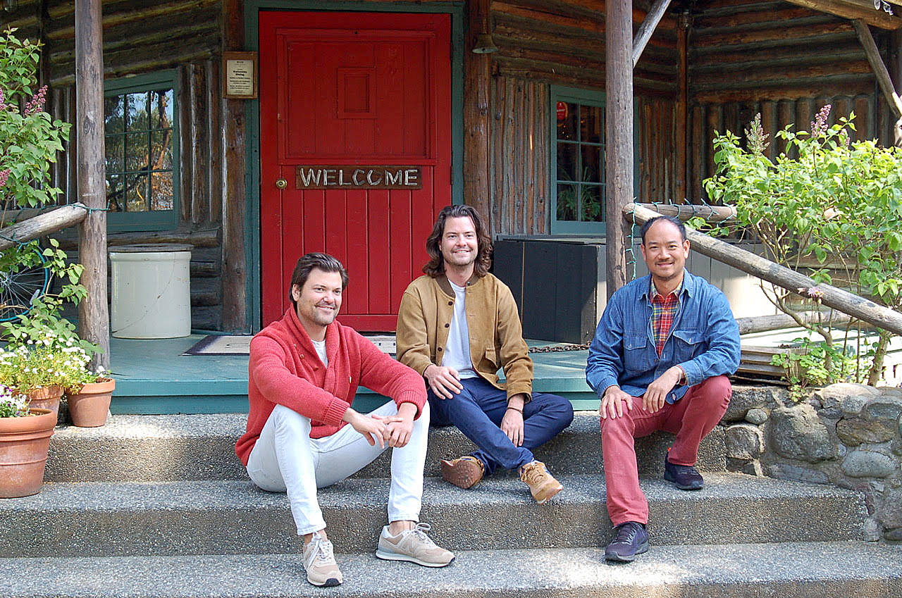 Photo by Rick Chapman                                 New owners of Central Whidbey's historic Captain Whidbey Inn are, from left, Matt French, his brother, Mike, and Eric Cheong. The three take a break on the inn's porch. For the full story, see page A9 of today's Whidbey News-Times