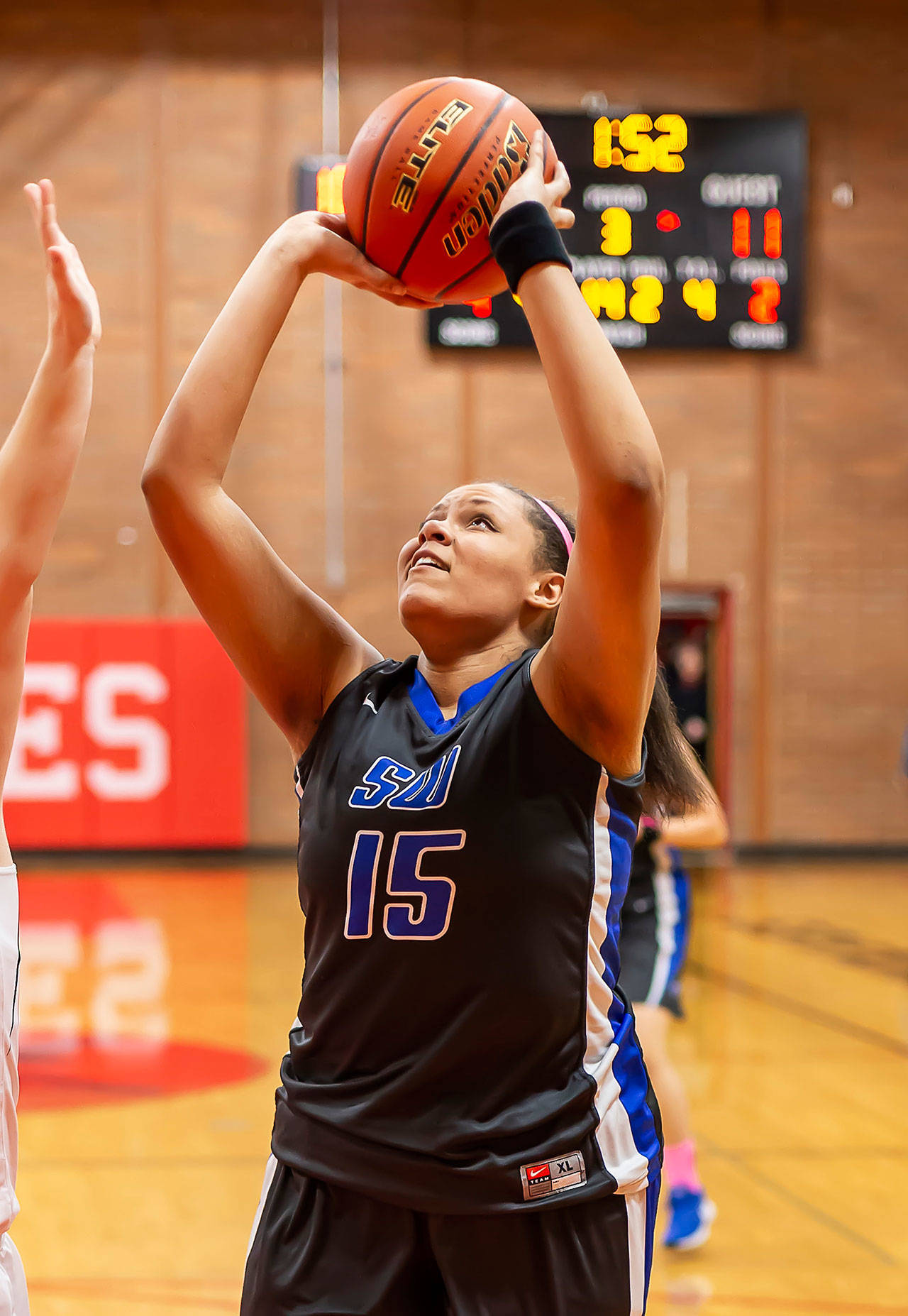 Arianna Briggs scored 2 of her team-high 6 points Friday in Coupeville.	(Photo by John Fisken)